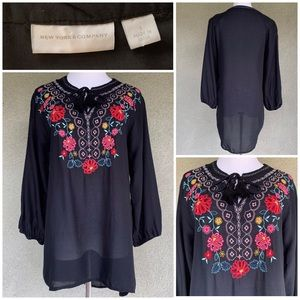 Beautiful Embroidered Black Rayon Blouse Size Sm